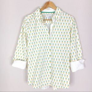 Foxcroft White Pineapple Print Button Down Blouse
